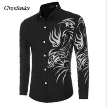 ec93f9588ca 2018 autumn new fashion flower printed long sleeve shirts men camisa male  slim flower shirts vintage