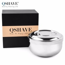 QSHAVE Stainless Steel Shaving Soap Bowl Double Edge Razor Brush Stand for Classic Safety Shaving Cream Bowl 11 x 6.8 x 6.3cm(China)