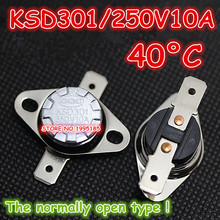 10Pcs/Lot KSD301 250V10A 40 Degrees Celsius 40 C Normal Open ( N O ) Temperature Controlled Switch Thermostat(China)