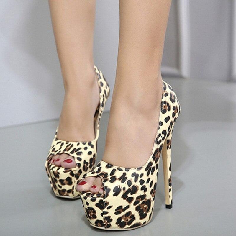 Fashion Leopard Style Peep Toe High Heels Women Shoes Sexy Platform Shoes Woman Pumps 17cm Summer Shoes Women Sandals<br><br>Aliexpress