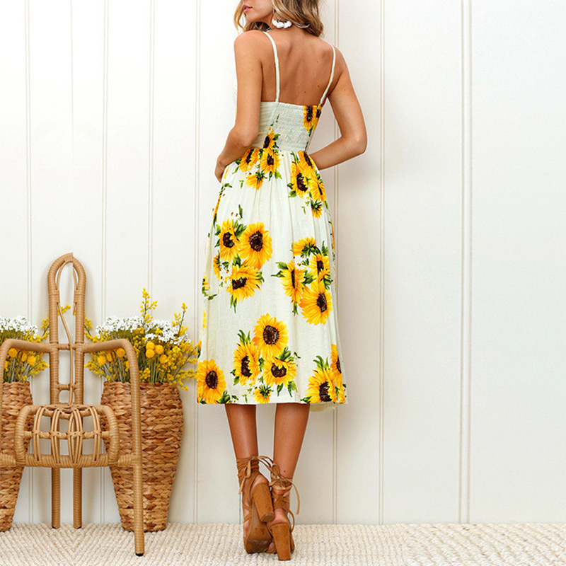 Summer 2018 Strap Print Floral Dot Long Boho Bohemian Beach Dress Women Sundress Sexy Casual Loose Elegant Vintage Ladies Dress 7