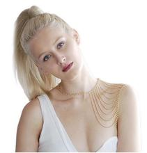 Trendy women one side shoulder body chain necklace gold/ silver plated(China)