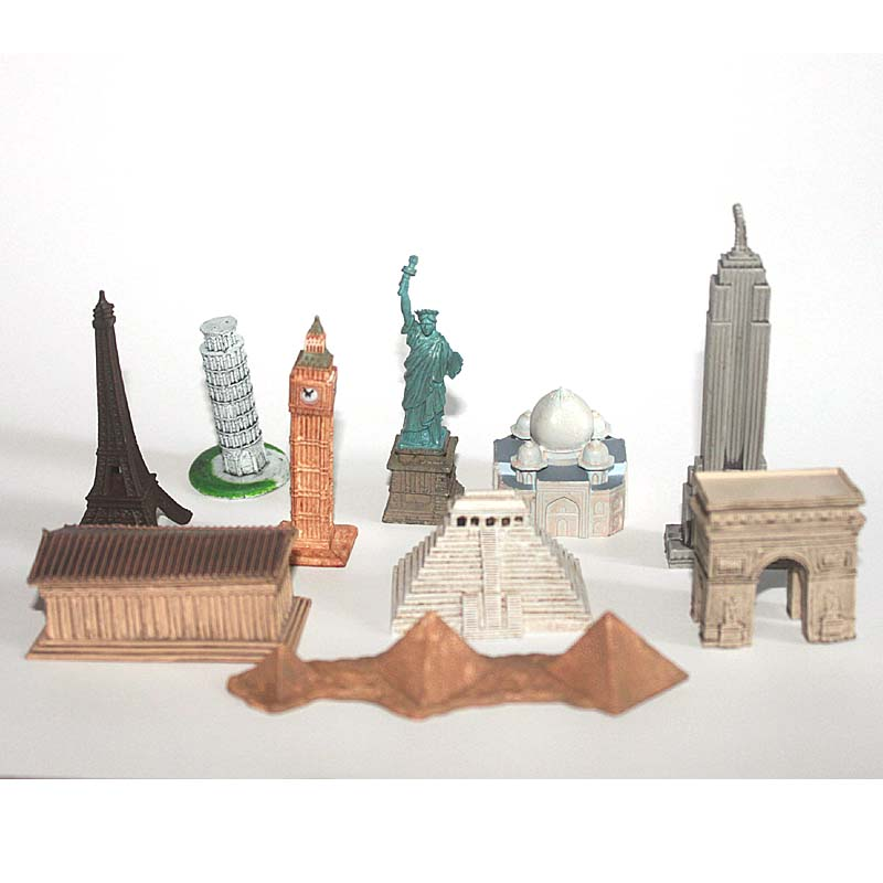 10 pcs/set World Famous Building 4-8cm Small Toy Figurines Eiffel Tower Taj Mahal The Parthenon Decoration Model Free shippping<br><br>Aliexpress