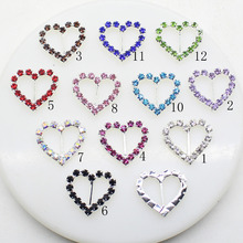 10pcs/Lot  20mm*21mm Heart Silver Multicolor Rhinestones Buckles Metal Diamante Diy Hair Accessory Bling Wedding Ribbon Fitting