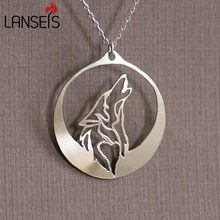 lanseis 1pcs dropshipping Howling Wolf necklace women pendant wolf howls into the night as its profile silver moon jewelry(China)
