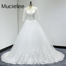 Buy Vestidos De Novia Princesa 2017 Plus Size Three Quarters Bridal Gown See Back Lace Ball Gown Wedding Dresses for $176.83 in AliExpress store