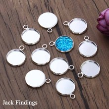 20pcs/lot Fit 12mm Cabochons Bright Silver Plated Cabochon Base Blank Tray Bezels Cameo Setting Necklace Bracelet Pendant Charms