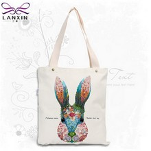 2 Color Canvas Shopping Bag Foldable Reusable Grocery Bags Cotton Fabirc Eco Tote Bag Wholesale(China)