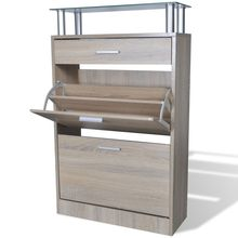 vidaXL Shoe Cabinet with a Drawer and Top Glass Shelf Wood Oak Look(China)