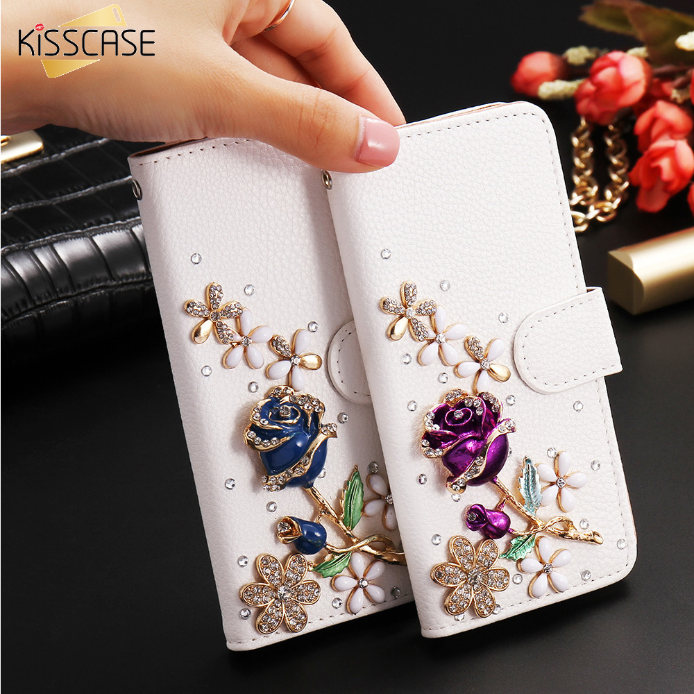 KISSCASE Fashion Bling Diamond Rose Flower Leather Card Slots Case Holster iPhone 6 6S 6 6S Plus Magnetic Flip Stand Cover