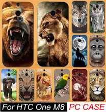 Cool Pattern Animal Lion Tiger Wolf Skull Owl Painted Cases For HTC One M8 Mobile Phone Case Cover Shell Free Shipping
