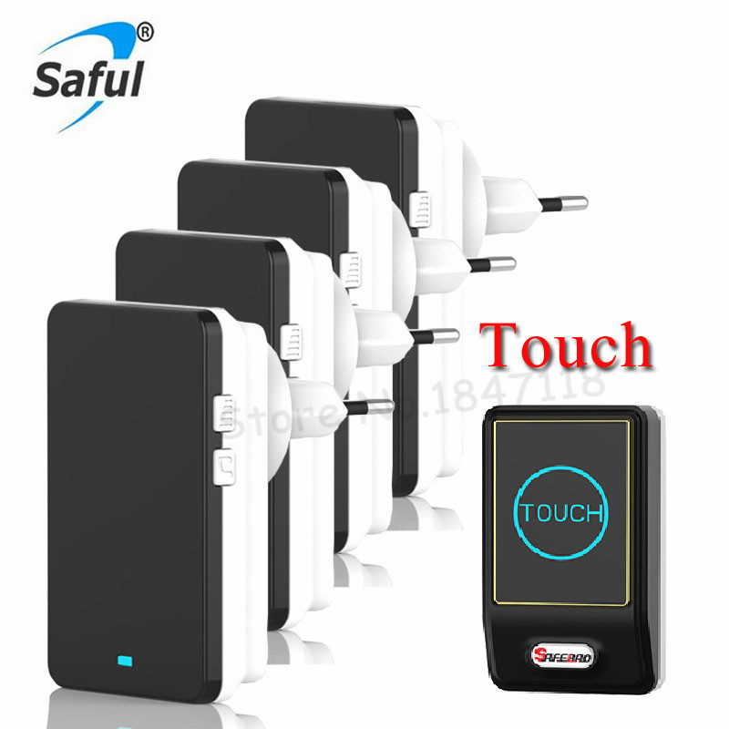 Touch Sensor EU AU Plug Electric Waterproof Doorbell Wireless 28 Melody Easy Set Up LED Home Door Bell Push Buttons 4 Receivers <br>