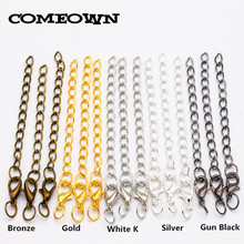 COMEOWN 50pcs/lot Lobster Clasp Extender Chains with Jump Rings & Split Rings Connector Sets for DIY Jewelry Findings Making(China)