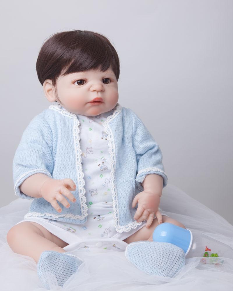 55cm Full Body Silicone Reborn Baby Doll Toys Lifelike Play House Toy Newborn Boy Baby Christmas Gift Bathe Shower Toy<br><br>Aliexpress