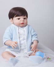 55cm Full Body Silicone Reborn Baby Doll Toys Lifelike Play House Toy Newborn Boy Baby Christmas Gift Bathe Shower Toy(China)