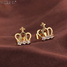 Fashion Cute Electronic-plated Golden Crown Shiny Czech Rhinestones Love Korean Style Candy Stud Earrings Top Trendy Jewelry