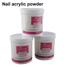ezflow 1 Bottle 120g Acrylic Powder Crystal Powder Nail Tips Polymer Pink Clear White 3 colors optional Nail Art Decoration(China)
