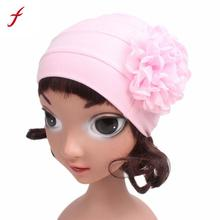 2017 New Arrival children hats autumn winter casual Girls Boho Hat Beanie Scarf flower Bonnet Chemo Turban Head Wrap Cap(China)