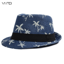 Summer Straw Hats For Adult Child Panama Hat Coconut Tree Jazz Caps Casual Beach Visor Hat Parent-child Cap(China)
