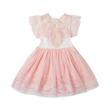 Sweet Princess Dress Baby Girls Clothes Pink Sleeveless Party Tutu Dress Flower Lace Girl Dresses Children Clothing