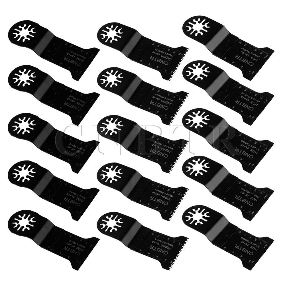 15 pcs CNBTR 45x40mm Universal Oscillating Multitool Precision Saw Blades Black<br>