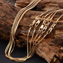 Hot Sale Bulk Wholesale Lots 5 pcs 1mm 18K Rose Gold Plated Fashion Women's Men's Snake Chains Necklace for DIY Pendant 16-30""