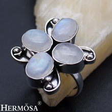 Hermosa jewelry Natural oval White Moonstone Womens New 925 Sterling Silver Elegant four stone Ring Size 6.5  AZ806