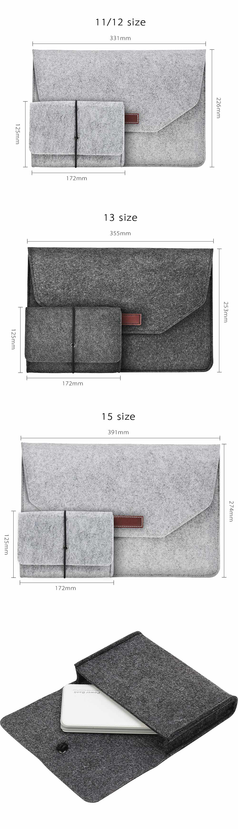 Soft For Macbook Air 13 Retina 13 Laptop Sleeve Wool Flet Case For Macbook Retina Pro 12 13 15 Touch Bar Laptop Case Mouse Bag  (3)