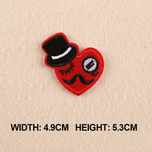 1 PC Patches For Clothing Red Heart With Hat Patches For Apparel Bags DIY Accessories