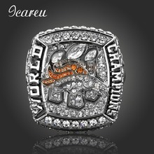 Full Rhinestones Silver Color Ring For Man Fans Love 2015 Denver Broncos Rugby Super Bowl Championship Rings