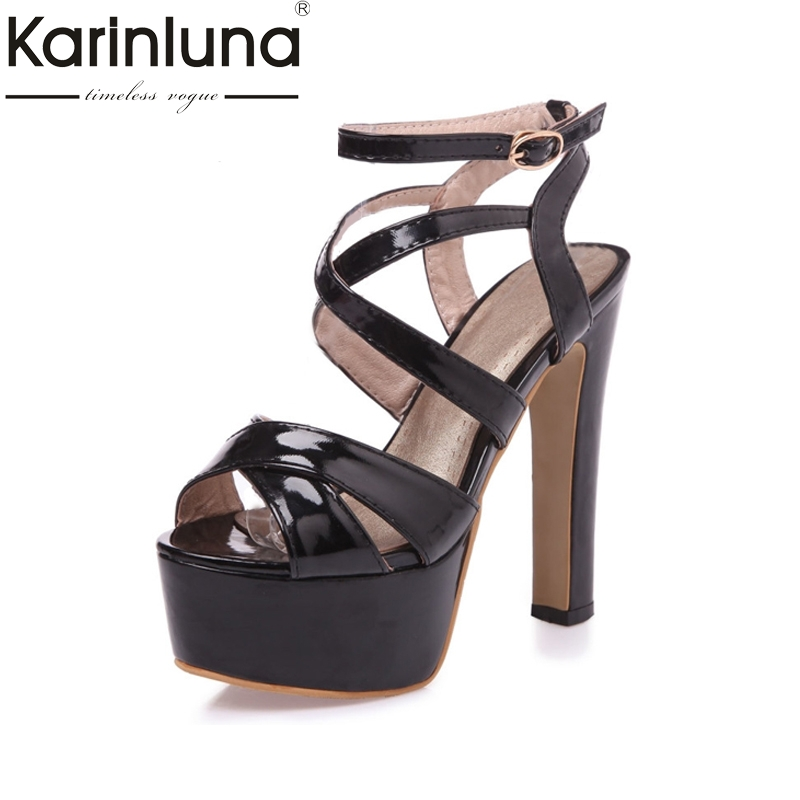 KARINLUNA 2017 Big Size 34-43 Thick Platform Women Sandals Solid Fashion Super High Heels Lady Gladiator Party Wedding Shoes<br>