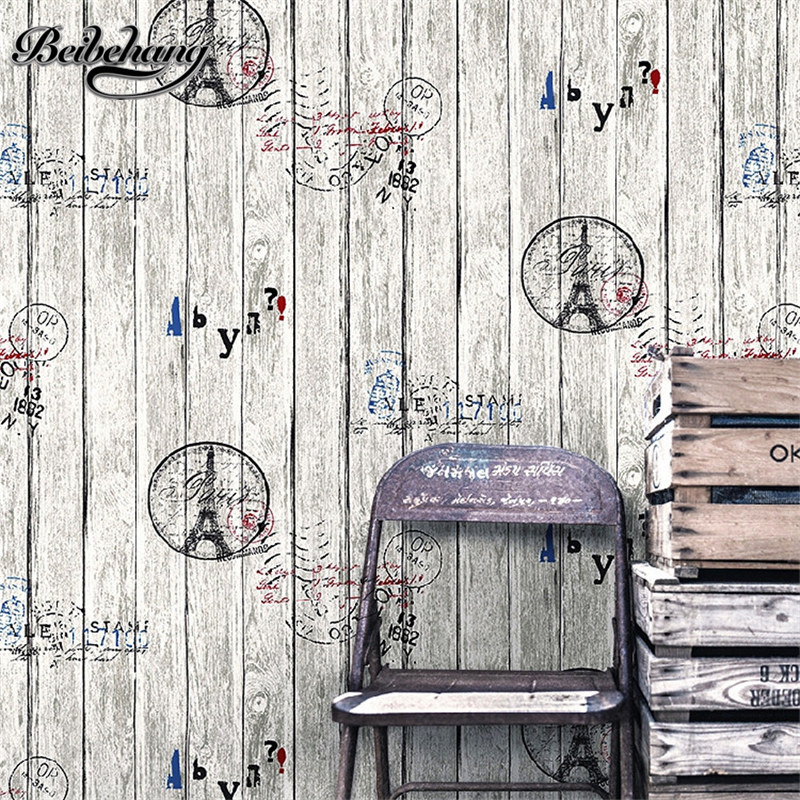 beibehang Wooden Pattern Retro Nostalgic Tower English Digital Personality Background Wallpaper Restaurant Wine Cellar Wallpaper<br>