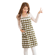 Apron For Women Cute Cotton Waitress Simple Antifouling Household Cooking Pinafore Aprons Cleaning with Pockets Japanese-style(China)