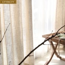 CITYINCITY Tulle Curtains for Living Room Modern solid Japan Faux Linen Window curtain For Bedroom Rideaux Customized ready made(China)