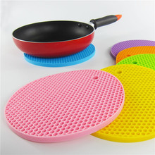 New Honeycomb Silicone Round Non-slip Heat Resistant Mat Coaster Cushion Placemat hot Pot Holder kitchen tools 1pcs hot sale