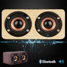 New Bluetooth Speaker Wooden Hifi Mini Sound box Portable Soundbar dual Speaker caixa de som sound system with mic for xiaomi H2(China)