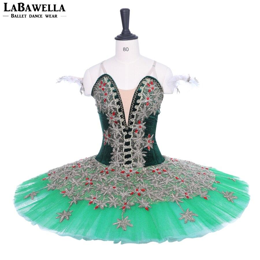Adult Professional Ballet Tutu Green Gold Pancake Peformance Tutus women sugar plum fairy cometiton stage tutu costumes BT9188B