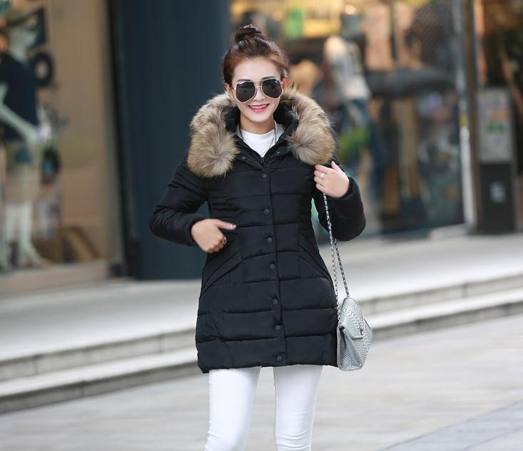 Plus Size 3XL Fur Collar Thick Cotton Padded Lining Ladies Down Coat Slim Long Winter Overcoat parkas para la mujer de inviernoОдежда и ак�е��уары<br><br><br>Aliexpress