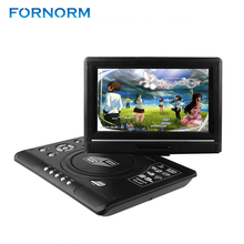 FORNORM Portable DVD Player 9.8 inch Swivel DVD Player USB SD Card Reader Portable TV DVD Player TV Car Charger With Battery(China)