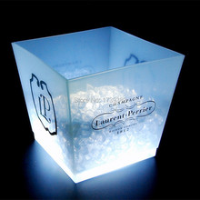 4pcs/lot rechargeable 12L glowing PP cube large led whisky champagne ice buckets, home garden cube flower pots(China)