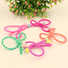 2017 New 10Pcs Colorful Style children Double beads tie headwear hair accessorie gum hair band headband wholesale(China)