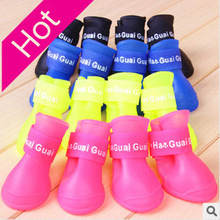 2016 Brand new Lovely Portable Pet Dog Waterproof Boots Rain Shoes non-slip
