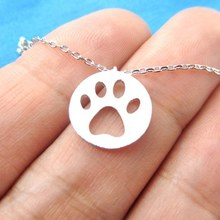 Daisies 10pcs/lot Dog Paw Necklace Print Dye Cut Coin Shaped Animal Charm Pendant in Gold Long Necklace for women girls Jewelry