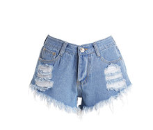 # make Europe and the United States women's hole in speed sell through hot selling hot style denim shorts(China)