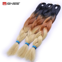 Wignee 3/2 Tone Ombre Color Jumbo Expression Braiding Synthetic Hair Extensions Spiral Hollow Crochet Twist Braid Hair For Women(China)