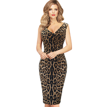 Vfemage Womens Elegant Sexy Hot V Neck Leopard Draped Sleeveless Tunic Casual Party Club Clubwear Pencil Sheath Dress 2122