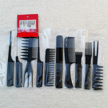 10Pcs Black Professional Hair Salon Hair Styling Tools Hairdressing Plastic Barbers Brush Combs Set Chic Design 5GHT(China)