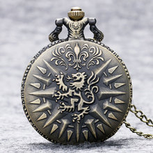 Vintage Bronze Dragon Carving Pendant Pocket Watch Retro Full Hunter Necklace Chain Men Male Jewelry Fob Quartz Watches