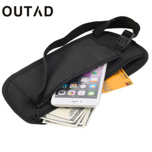OUTAD Cash Travel Passport Ticket Zipper Bag Safety Belt pocketss Elastic Adjustable Strap Security Waist Belt Bag Men Women