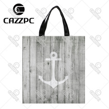 Vintage White Nautical Anchor on Gray Wood Print Custom individual waterproof Nylon Fabric shopping bag gift bag Pack of 2